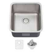 Dex 17'' Undermount 16 Gauge Antibacterial Single Bowl Kitchen Sink in Stainless Steel, 16-7/8'' W x 18-3/4'' D x 9-1/4'' H