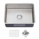 Dex 21'' Undermount 16 Gauge Antibacterial Single Bowl Kitchen Sink in Stainless Steel, 21-1/4'' W x 17-3/8'' D x 7-3/4'' H