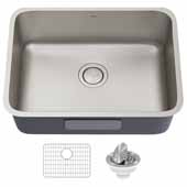 Dex 25'' Undermount 16 Gauge Antibacterial Single Bowl Kitchen Sink in Stainless Steel, 24-3/4'' W x 18-7/8'' D x 9-1/4'' H