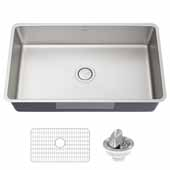 Dex 32'' Undermount 16 Gauge Antibacterial Single Bowl Kitchen Sink in Stainless Steel, 32-7/8'' W x 18-7/8'' D x 9-1/4'' H