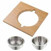Kraus Workstation Kitchen Sink Serving Board Set with Stainless Steel Mixing Bowl and Colander, 16-3/4''W x 15-3/4''D x 5-5/8''H