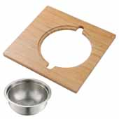 Kraus Workstation Kitchen Sink Serving Board Set with Stainless Steel Colander, 16-3/4''W x 15-3/4''D x 4-3/4''H