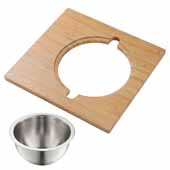 Kraus Workstation Serving Board Set with Stainless Steel Mixing Bowl for Kitchen Sink, 16-3/4''W x 15-3/4''D x 5-5/8''H