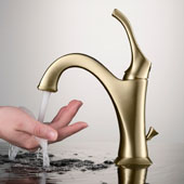 Arlo Basin Bathroom Faucet in Brushed Gold with Lift Rod Drain and Deck Plate, Faucet Height: 8'', Spout Reach: 5''