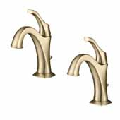 Arlo™ Single Handle Basin Bathroom Faucet With Lift Rod Drain And Deck Plate (2-Pack) In Brushed Gold