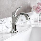 Arlo™ Chrome Single Handle Basin Bathroom Faucet with Lift Rod Drain and Deck Plate, Faucet Height: 8'', Spout Reach: 5''