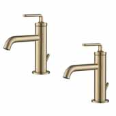 KRAUS Ramus™ Single Handle Bathroom Sink Faucet with Lift Rod Drain in Brushed Gold (2-Pack), Faucet Height: 7-1/2'' H, Spout Reach: 5-1/2'' D, Spout Height: 3-3/8'' H
