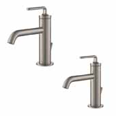 Ramus™ Single Handle Bathroom Sink Faucet With Lift Rod Drain In Spot Free Stainless Steel (2-Pack)