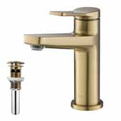 Indy™ Single Handle Bathroom Faucet in Brushed Gold with Pop Up Drain and Overflow