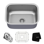 23'' Undermount Single Bowl 16 Gauge S/S  Kitchen Sink with NoiseDefend� Soundproofing