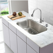 31-1/2'' Undermount Single Bowl Kitchen Sink with Kitchen Faucet & Soap Dispenser in Chrome