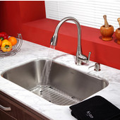 31-1/2'' Undermount Single Bowl Kitchen Sink with Kitchen Faucet & Soap Dispenser in Satin Nickel