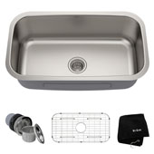 31-1/2'' Undermount Single Bowl 16 Gauge S/S  Kitchen Sink with NoiseDefend� Soundproofing