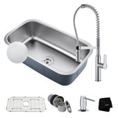 Kitchen Combo With Outlast Microshield™ Undermount Stainless Steel 31 -1/2''W Single Bowl Real Kitchen Sink And Nola™ Commercial Kitchen Faucet With Soap Dispenser In Chrome Finish