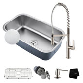 Kitchen Combo With Outlast Microshield™ Undermount Stainless Steel 31 -1/2''W Single Bowl Real Kitchen Sink And Nola™ Commercial Kitchen Faucet With Soap Dispenser In Stainless Steel Finish