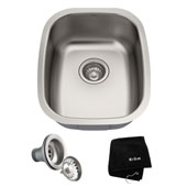 15'' Undermount Single Bowl 18 Gauge S/S  Bar Sink with NoiseDefend� Soundproofing