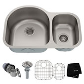 29-1/8'' Undermount 60/40 Double Bowl 16 Gauge S/S  Kitchen Sink with NoiseDefend™ Soundproofing