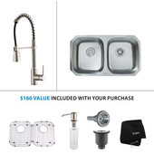 32-1/4'' Undermount Double Bowl Kitchen Sink with Commercial Style Kitchen Faucet & Soap Dispenser in Stainless Steel