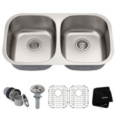 32-1/4'' Undermount 50/50 Double Bowl 16 Gauge S/S  Kitchen Sink with NoiseDefend™ Soundproofing