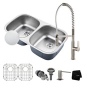 Kitchen Combo With Outlast Microshield™ Undermount Stainless Steel 32''W 50/50 Double Bowl Real Kitchen Sink And Nola™ Commercial Kitchen Faucet With Soap Dispenser In Stainless Steel Finish