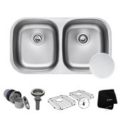 Outlast MicroShield™ 32'' Scratch-Resist 16-Gauge Stainless Steel Undermount 50/50 Double Bowl Sink