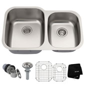 32'' Undermount 60/40 Double Bowl 16 Gauge S/S  Kitchen Sink with NoiseDefend� Soundproofing