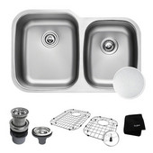 Outlast MicroShield™ 32'' Scratch-Resist 16-Gauge Stainless Steel Undermount 60/40 Double Bowl Sink