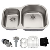 32-3/8'' Undermount 60/40 Double Bowl 16 Gauge S/S  Kitchen Sink with NoiseDefend� Soundproofing