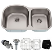34-3/8'' Undermount 60/40 Double Bowl 16 Gauge S/S  Kitchen Sink with NoiseDefend™ Soundproofing