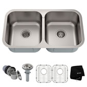 31-3/8'' Undermount 50/50 Double Bowl 18 Gauge S/S  Kitchen Sink with NoiseDefend™ Soundproofing
