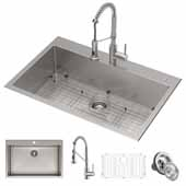Stark™ 33'' Dual Mount Kitchen Sink and Pull-Down Commercial Kitchen Faucet Combo in Stainless Steel, 33''W x 22''D x 9''H