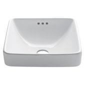 Elavo Ceramic Square Semi-Recessed Bathroom Sink with Overflow, White