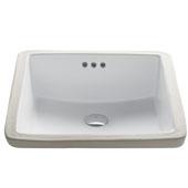Elavo Ceramic Square Undermount Bathroom Sink with Overflow, White