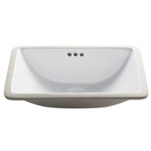 Elavo White Ceramic Small Rectangular Undermount Bathroom Sink w/ Overflow