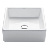 White Square Ceramic Sink, 15'' W x 15'' D x 5-1/4'' H