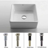 White Square Ceramic Sink with Satin Nickel Pop Up Drain, 15-1/5''W x 15-1/5''D x 5-1/5''H