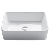 White Rectangular Ceramic Sink, 18-3/4'' W x 14-1/4'' D x 5-1/4'' H