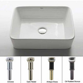 White Rectangular Ceramic Sink with Chrome Pop Up Drain, 19-1/5''W x 15-1/5''D x 5-2/7''H