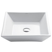 White Square Ceramic Sink, 16'' W x 16'' D x 4-1/2'' H