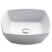 Elavo Ceramic Flared Square Vessel Bathroom Sink, White