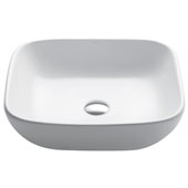 Elavo Ceramic Soft Square Vessel Bathroom Sink, White
