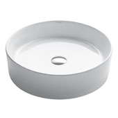 White Round Ceramic Sink, 17-3/4'' Diameter x 5'' H