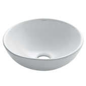 White Round Ceramic Sink, 15-3/4'' Diameter x 6-1/4'' H