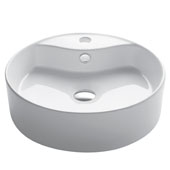 White Round Ceramic Sink, 18-1/4'' Diameter x 5-1/2'' H
