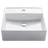 White Square Ceramic Sink, 18-1/2'' W x 18-1/2'' D x 5-3/4'' H