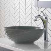 Viva™ Round Gray Porcelain Ceramic Vessel Bathroom Sink with Pop-Up Drain, 16-1/2''Diameter x 5-1/2''H