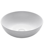 Viva Round Porcelain Ceramic Vessel Bathroom Sink in White Finish, 16-1/2'' Diameter x 5-1/2'' H