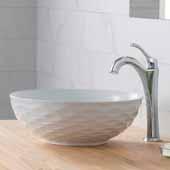 Viva™ Round White Porcelain Ceramic Vessel Bathroom Sink with Pop-Up Drain, 16-1/2''Diameter x 5-1/2''H