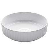 Viva Round Vertical Rippled Exterior Porcelain Ceramic Vessel Bathroom Sink in White Finish, 15-3/4'' Diameter x 4-3/4'' H