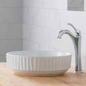 Viva™ Round White Porcelain Ceramic Vessel Bathroom Sink with Pop-Up Drain, 15-3/4''Diameter x 4-3/4''H